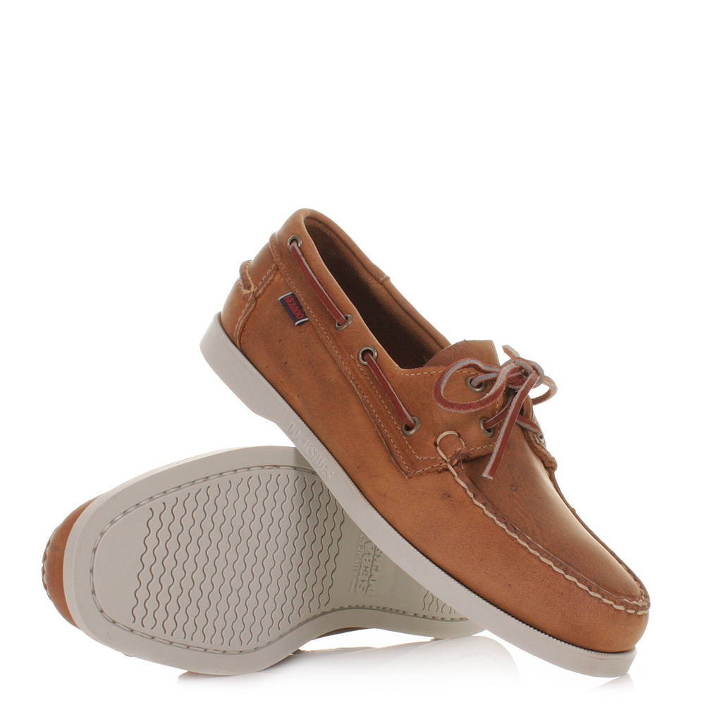 mens sebago dockside leather brown white boat deck shoes