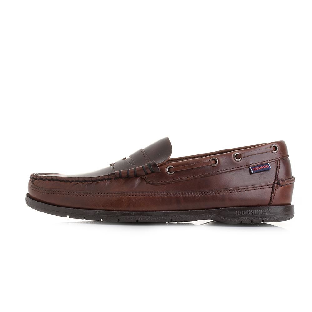 Mens Sebago Sloop Brown Oiled Waxy Brown Classic Leather ...