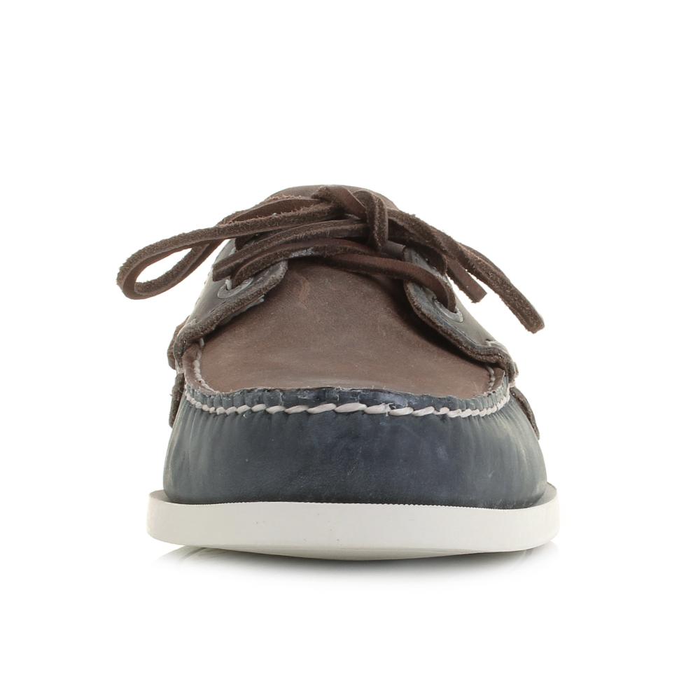 Mens Sebago Spinnaker Brown Navy Grey Leather Nautical Boat Shoes ...