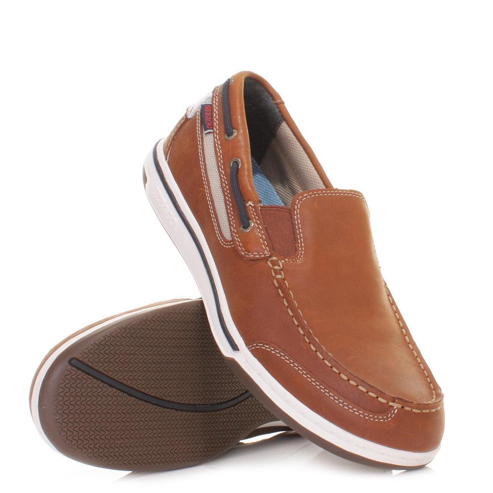 mens sebago triton slip on white leather deck shoes
