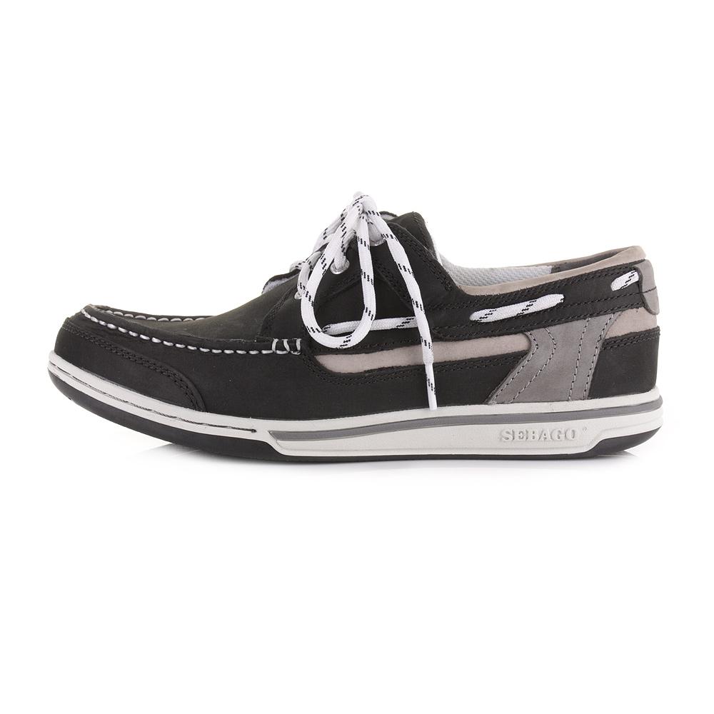 mens sebago triton three eye black leather deck boat shoes