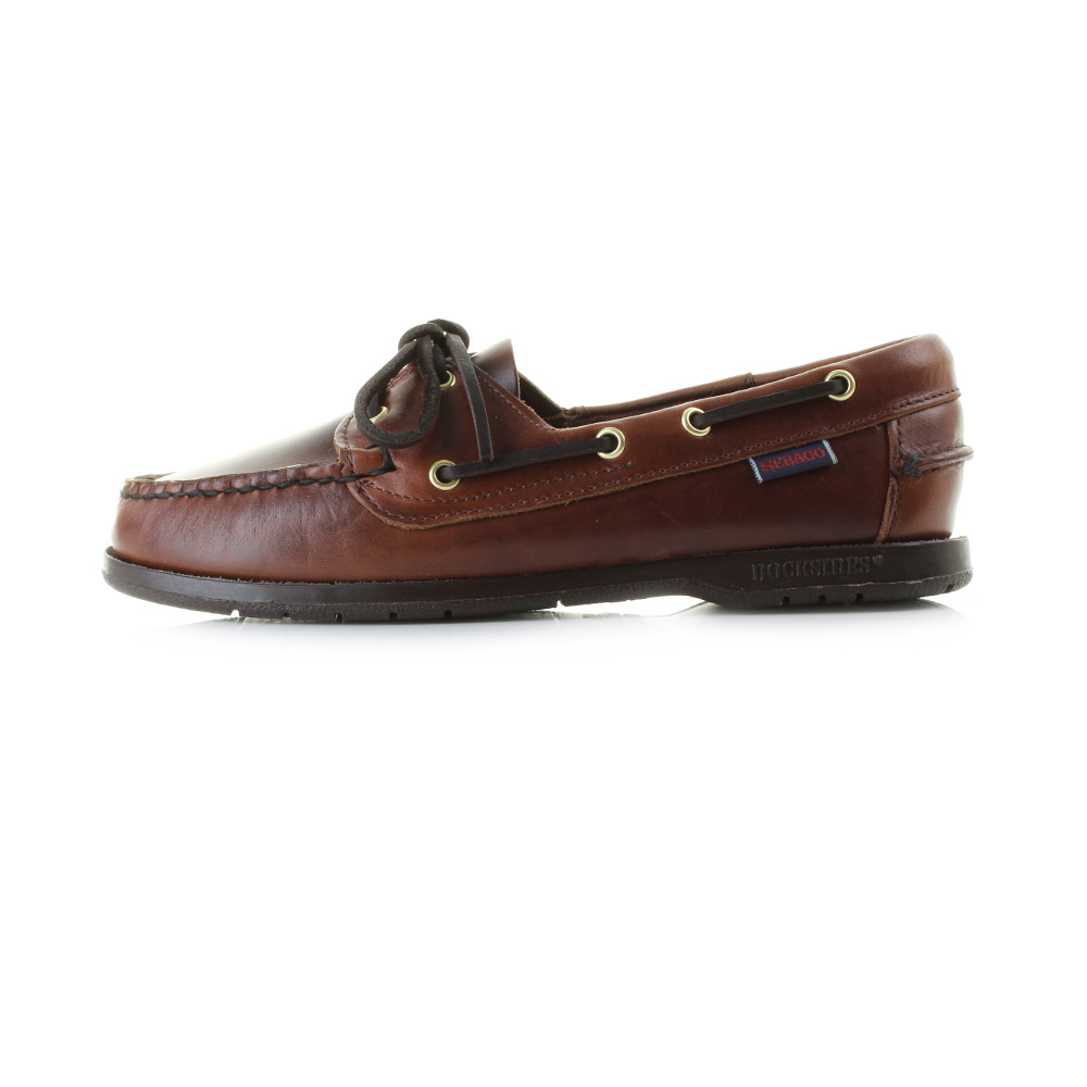 Brown Leather Deck Shoes Womens