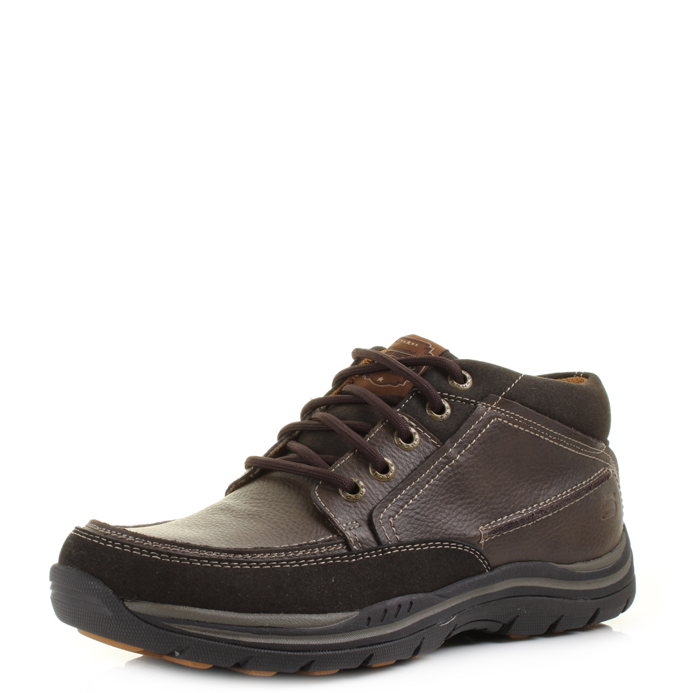 mens skechers expected cason chocolate leather brown