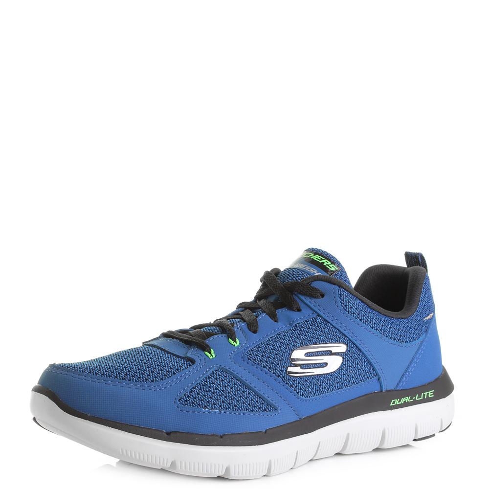 Mens-Skechers-Flex-Advantage-2-0-Blue-Lime-Running-Trainers-Shu-Size