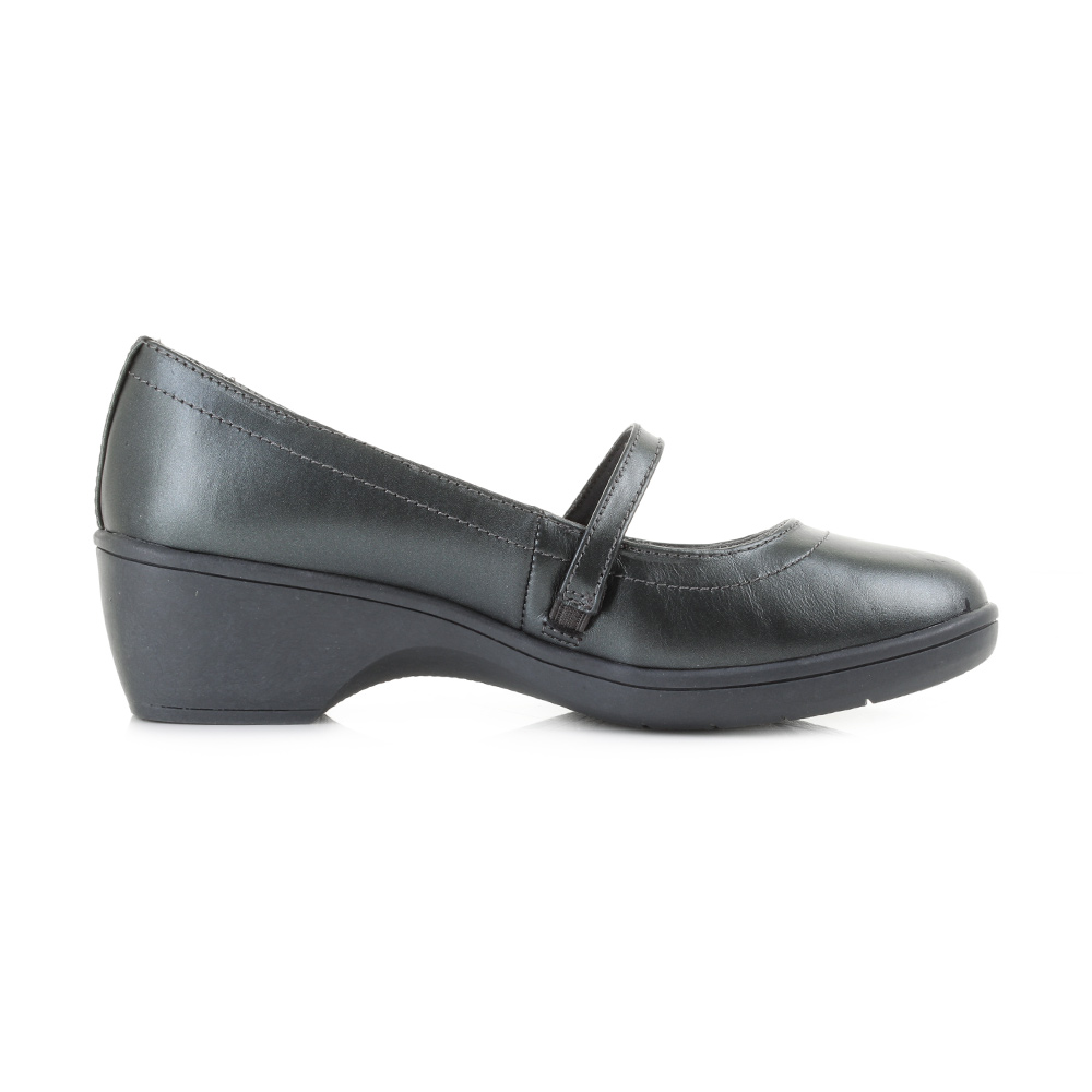 Skechers Flexible Staple Womens Heeled Mary Jane Shoes Pewter