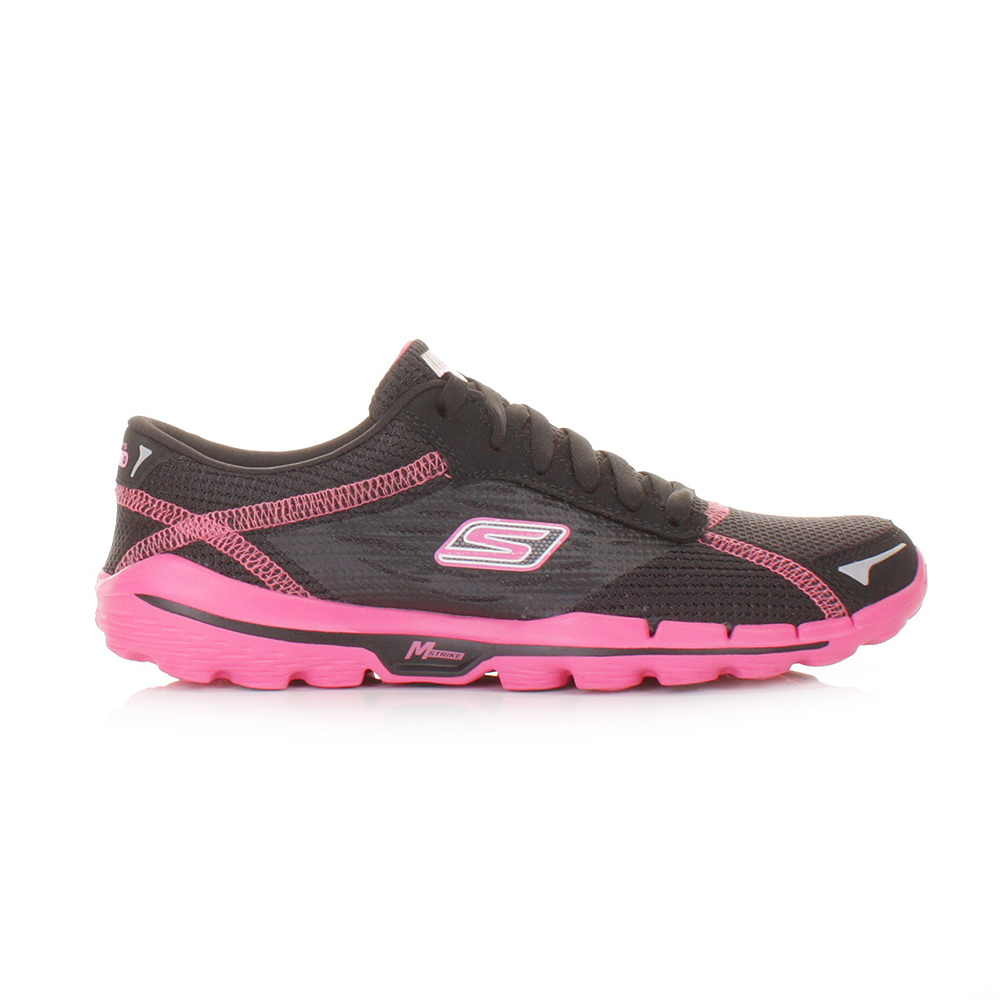 womens skechers go run 2 black pink running gym fitness. Black Bedroom Furniture Sets. Home Design Ideas