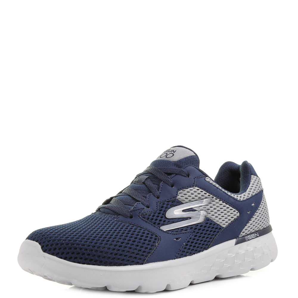 mens skechers go run 400 navy grey running trainers uk. Black Bedroom Furniture Sets. Home Design Ideas