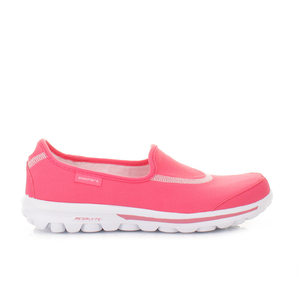 womens skechers go walk pink slip on cushioned shoes