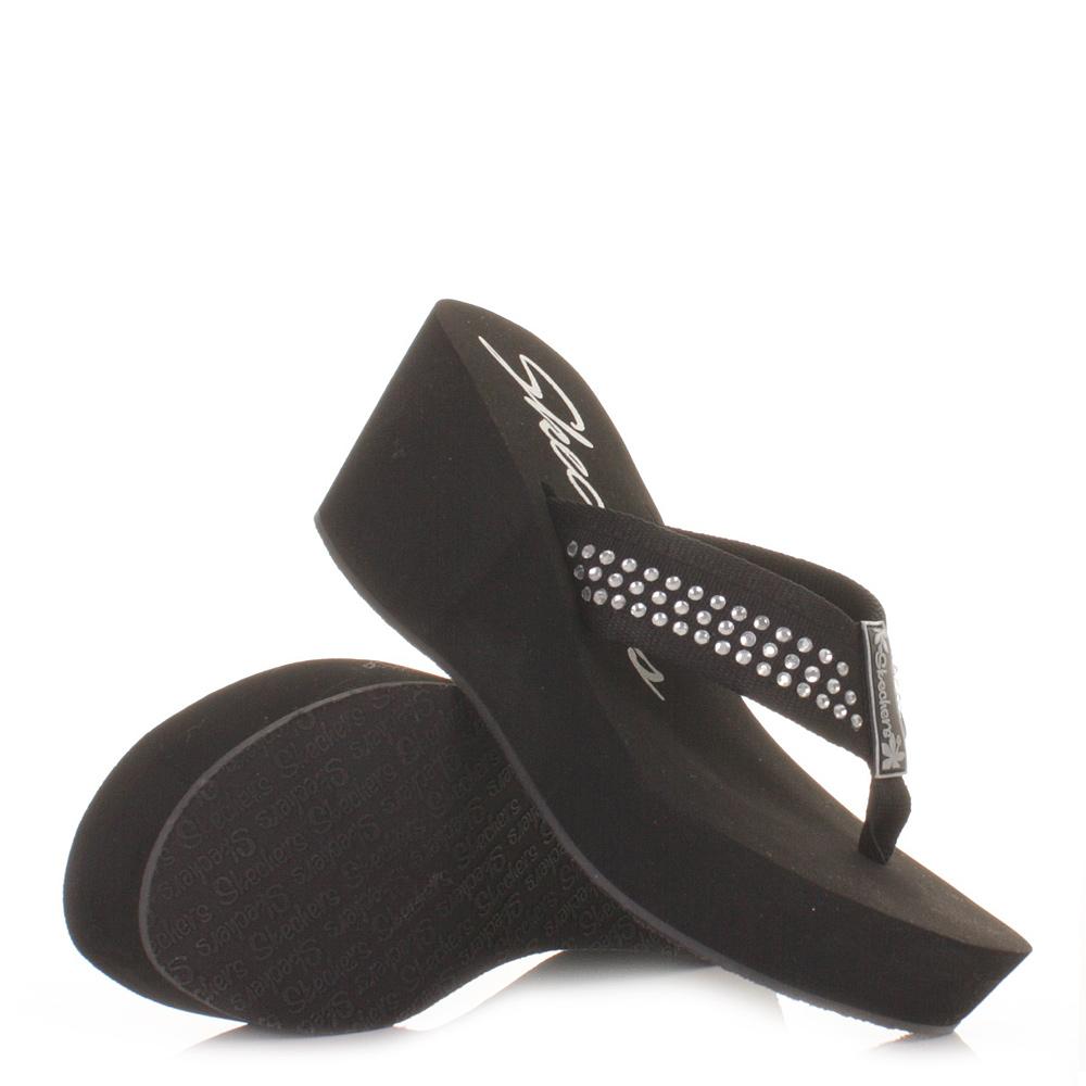 womens skechers pin up black wedge heel flip flop ladies. Black Bedroom Furniture Sets. Home Design Ideas