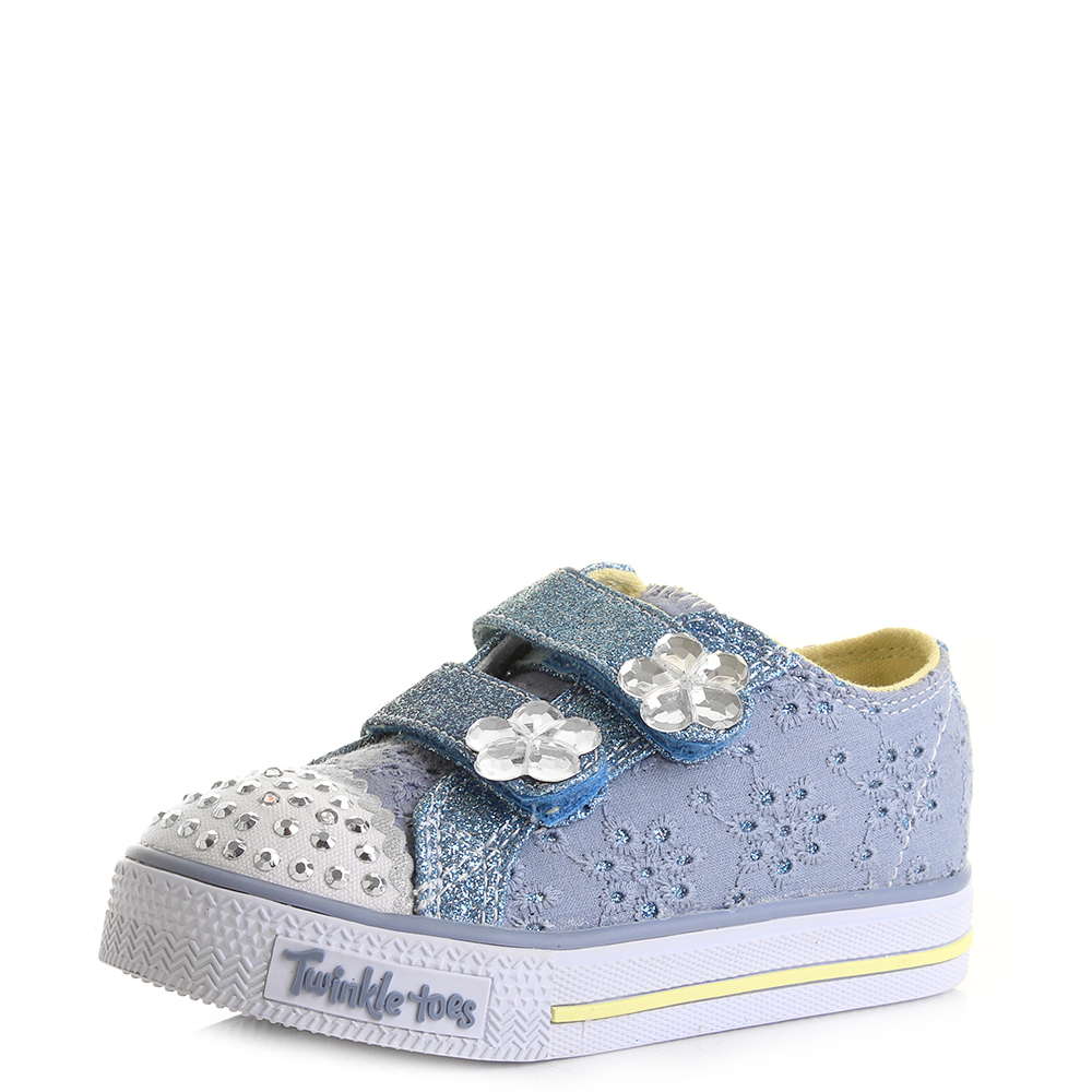 kids girls skechers shuffles twinkle toes petal pop blue. Black Bedroom Furniture Sets. Home Design Ideas