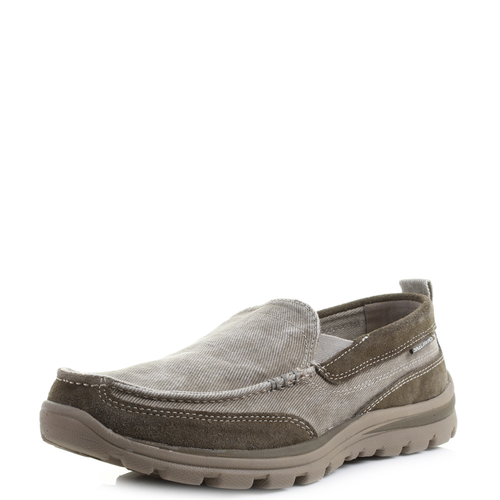 mens skechers superior melvin taupe slip on canvas loafers