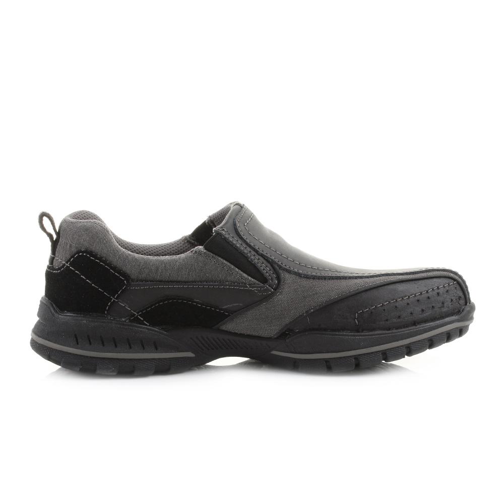 mens skechers vorlez conven black slip on relaxed fit