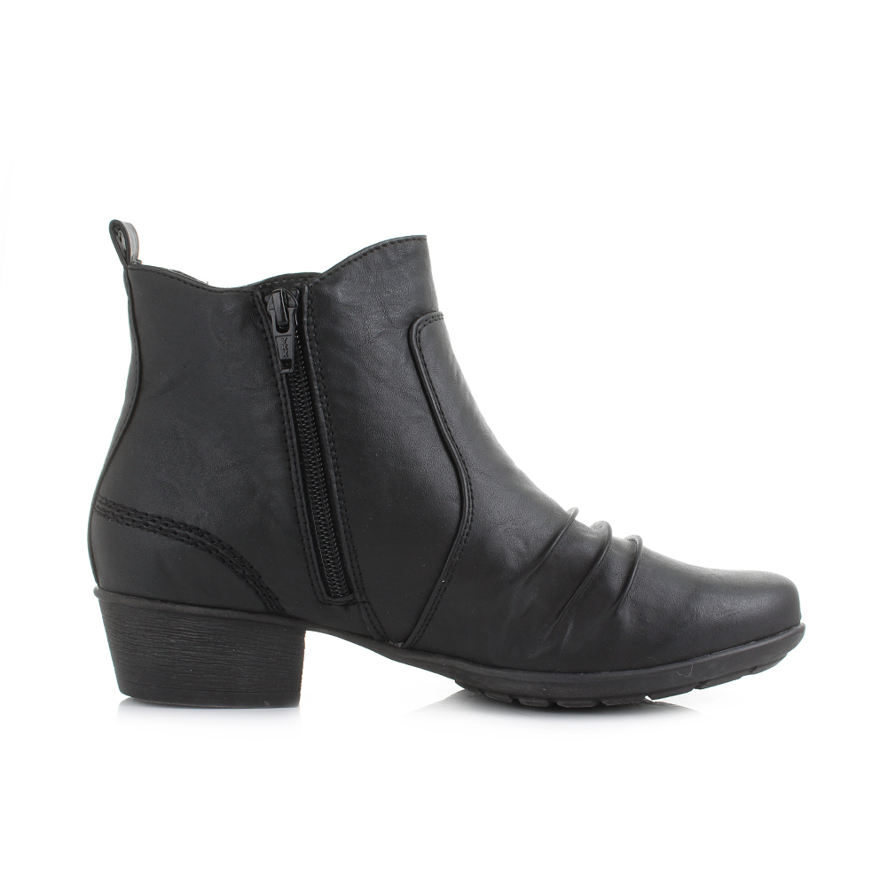 womens black low heel leather style ankle boots shu