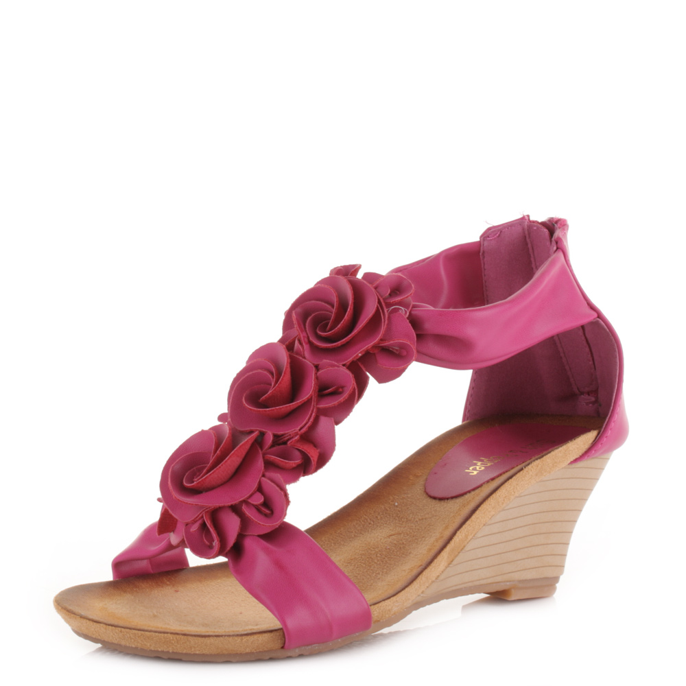 womens sunstone wedge heels floral pink summer sandals