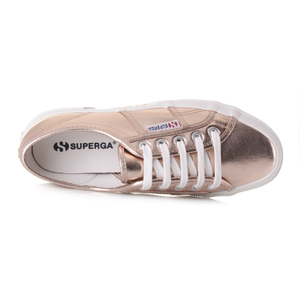 18890dec005d Womens Superga 2750 Cotmetu Rose Gold Metallic Lace Up Trainers Shoes .