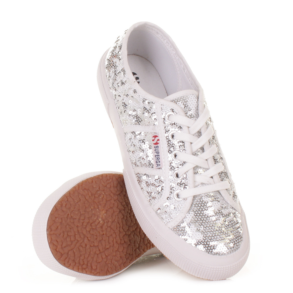 WOMENS SUPERGA 2750 PAIWREFLEX WHITE SILVER SEQUIN ...