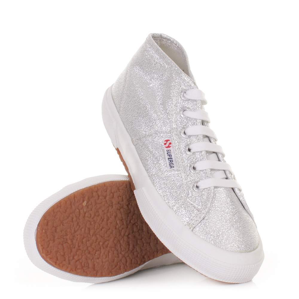 womens superga 2754 silver mid hi high top trainers shoes ankle boots size 3 8 ebay. Black Bedroom Furniture Sets. Home Design Ideas