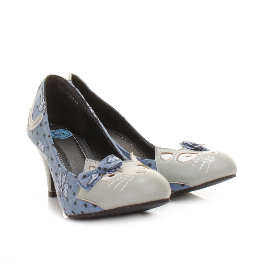 Womens Blue Mid Heal Shoes