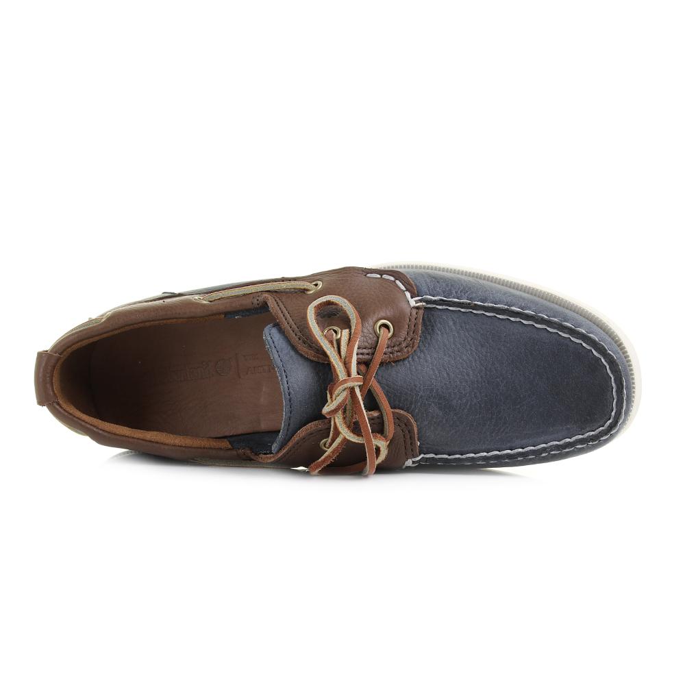 Mens Timberland EK 2 Eye Dark Brown Navy Blue Leather Boat Shoes ...