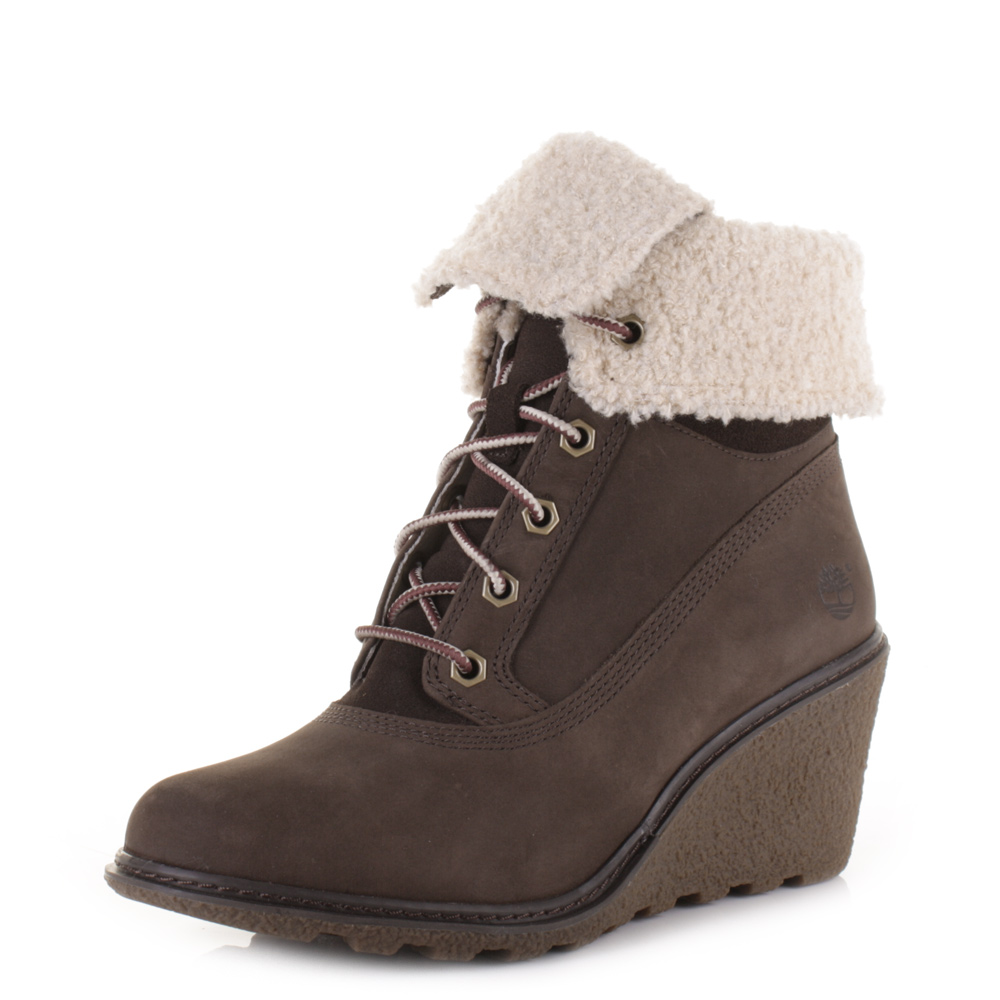 womens timberland amston roll top brown leather wedge
