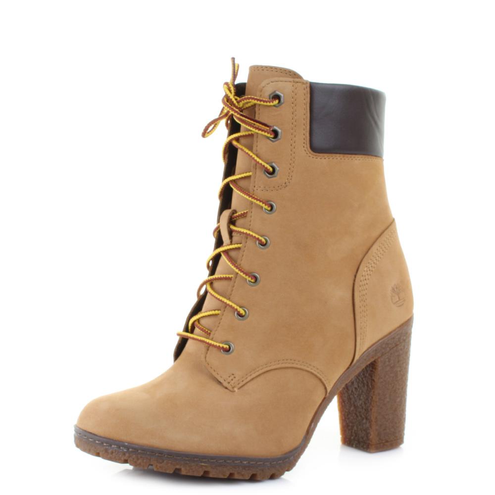 womens timberland ek glancy 6 inch wheat leather heeled