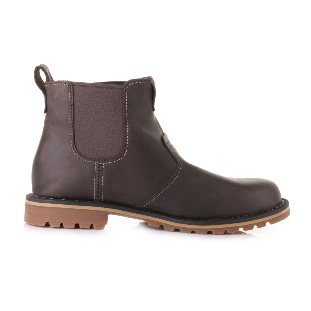mens timberland grantly chelsea brown leather pull on
