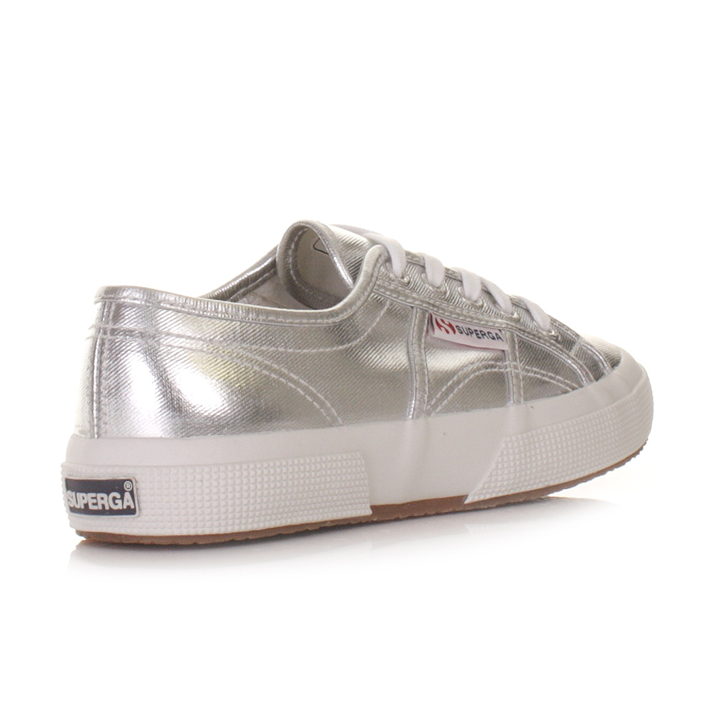 womens superga 2750 cotmetu silver metallic flat trainers shoes lace size 3 8 ebay. Black Bedroom Furniture Sets. Home Design Ideas