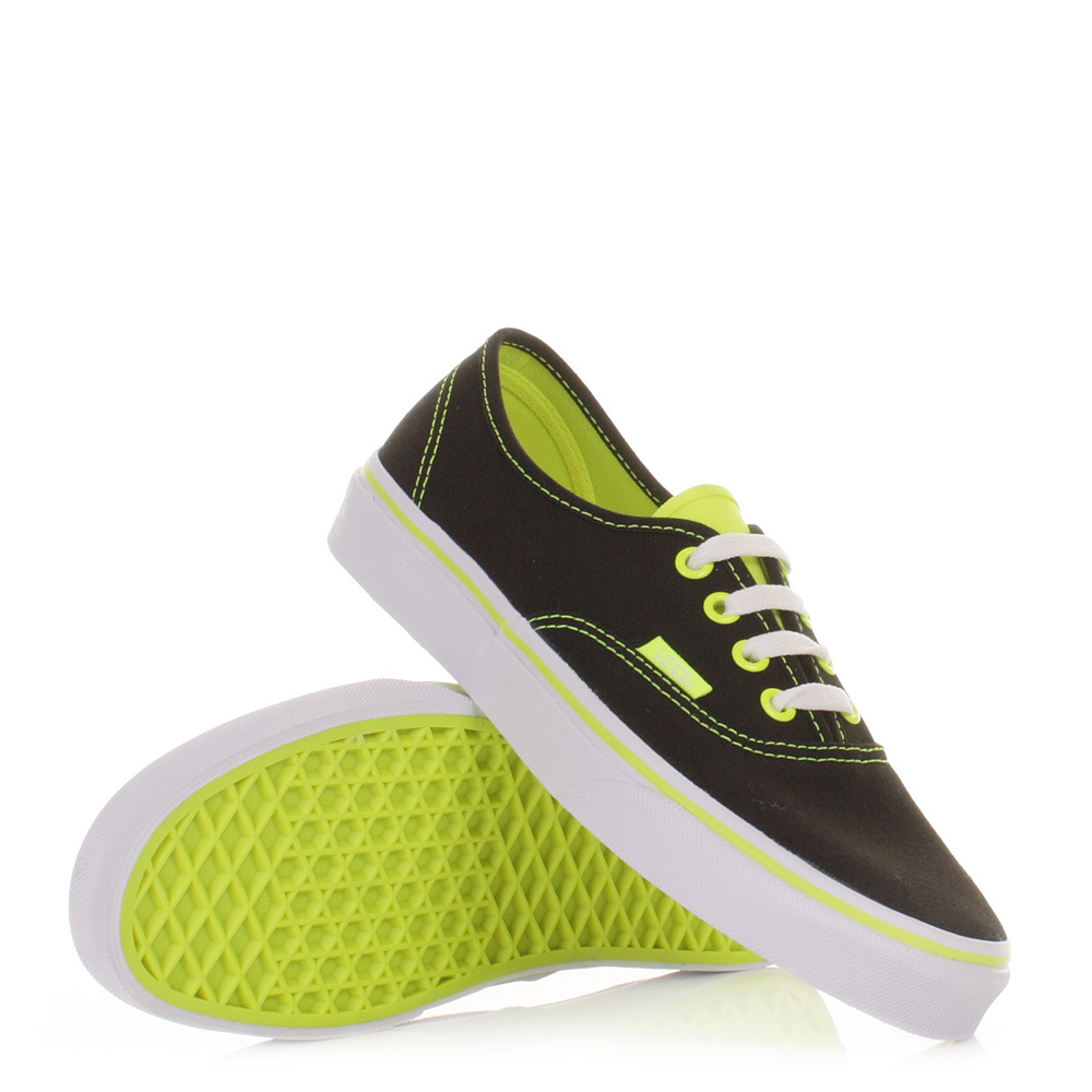womens vans authentic neon pop black yellow shoes