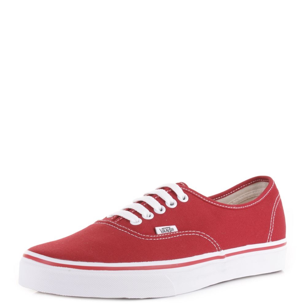 vans authentic red canvas womens trainers