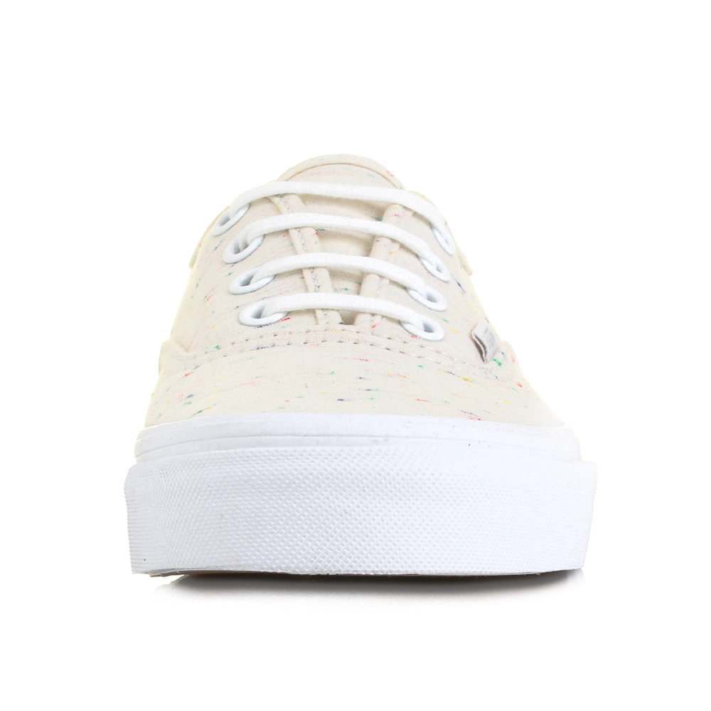 Womens Vans Authentic Speckle Jersey Cream Canvas Trainers Shoes Size