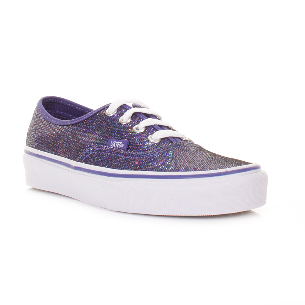WOMENS VANS AUTHENTIC IRIDESCENT BLUE GLITTER LADIES TRAINERS SHOES SIZE 3 8