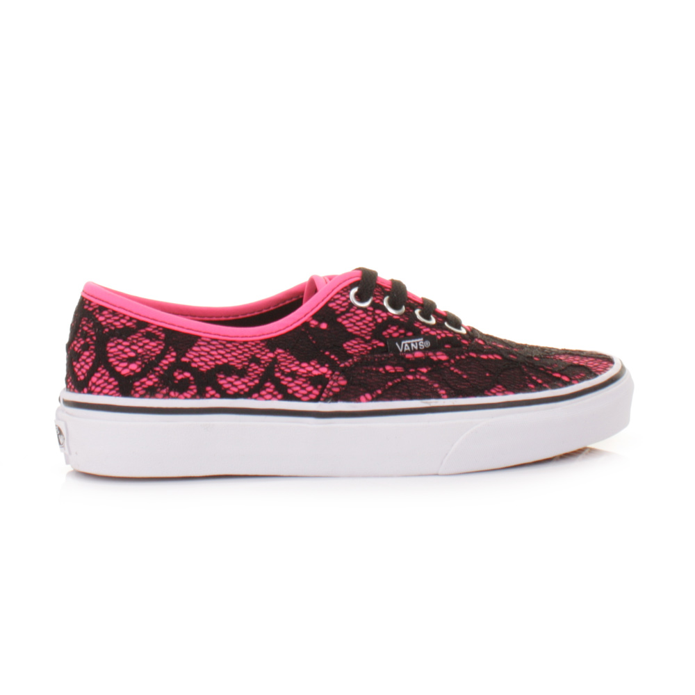 womens vans authentic lace neon pink shoes trainers flat