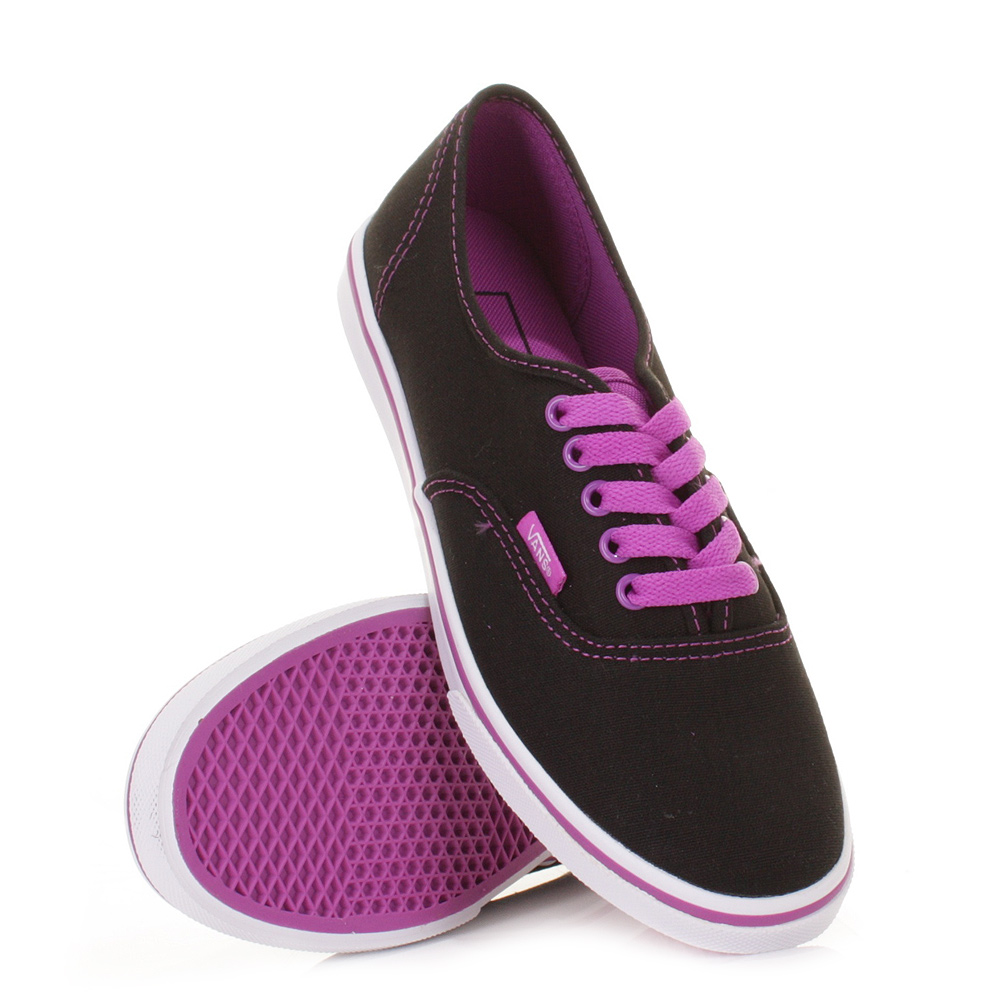 WOMENS VANS AUTHENTIC LO PRO BLACK NEON PURPLE LADIES ...