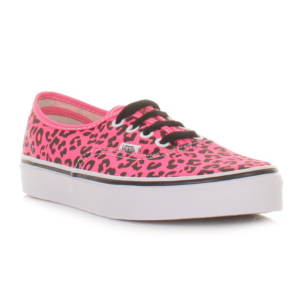 womens vans authentic neon leopard pink black shoes