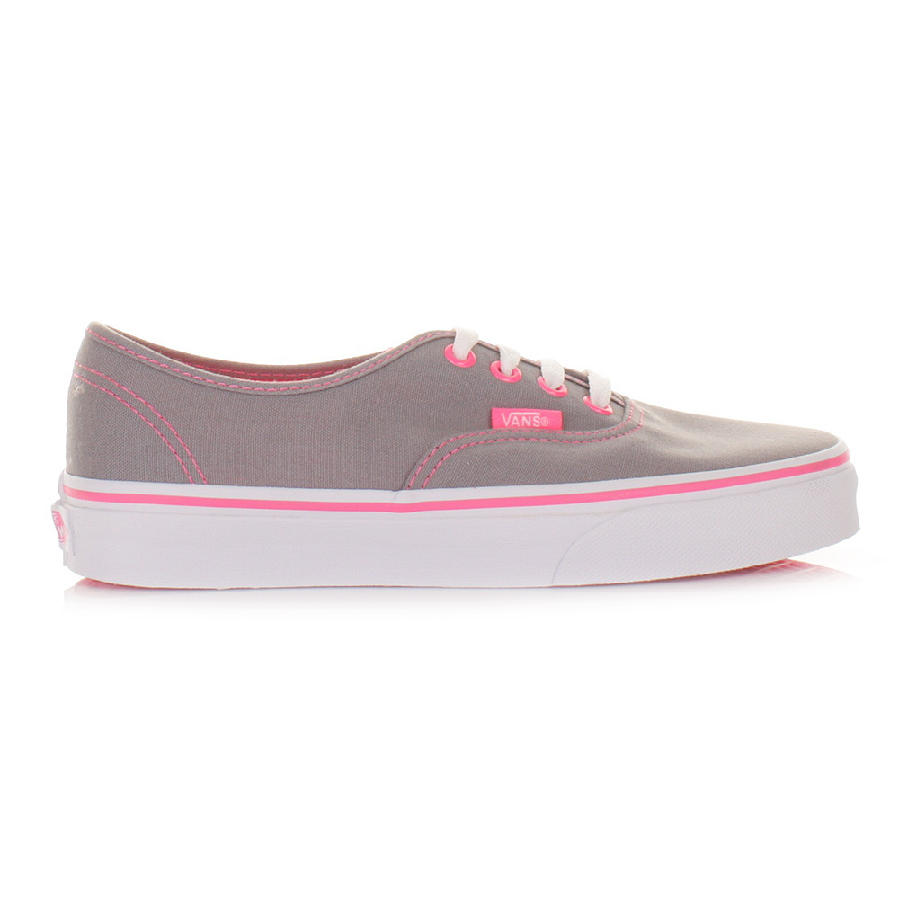 womens vans authentic neon pop grey pink shoes