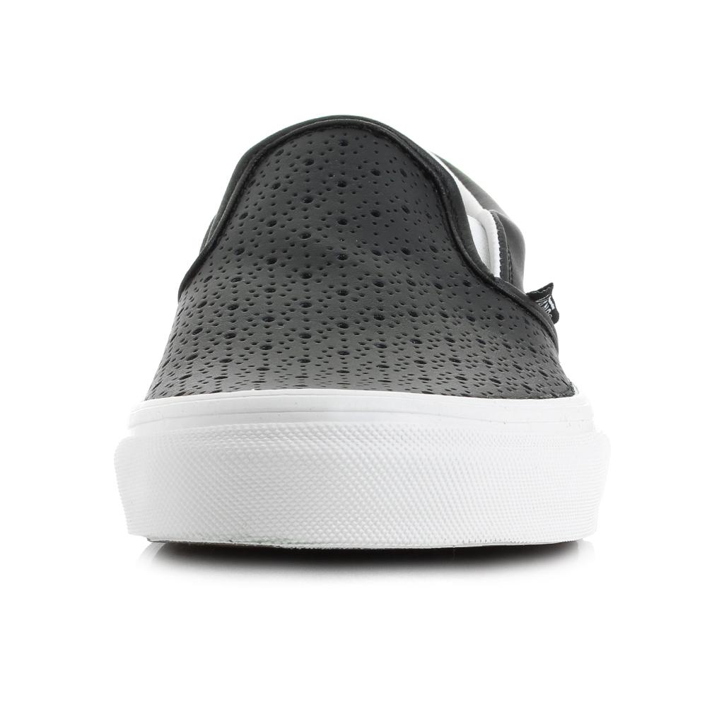 Vans slip on leather perf - Womens Vans Perf Black Slip On Leather Trainers Shu Size