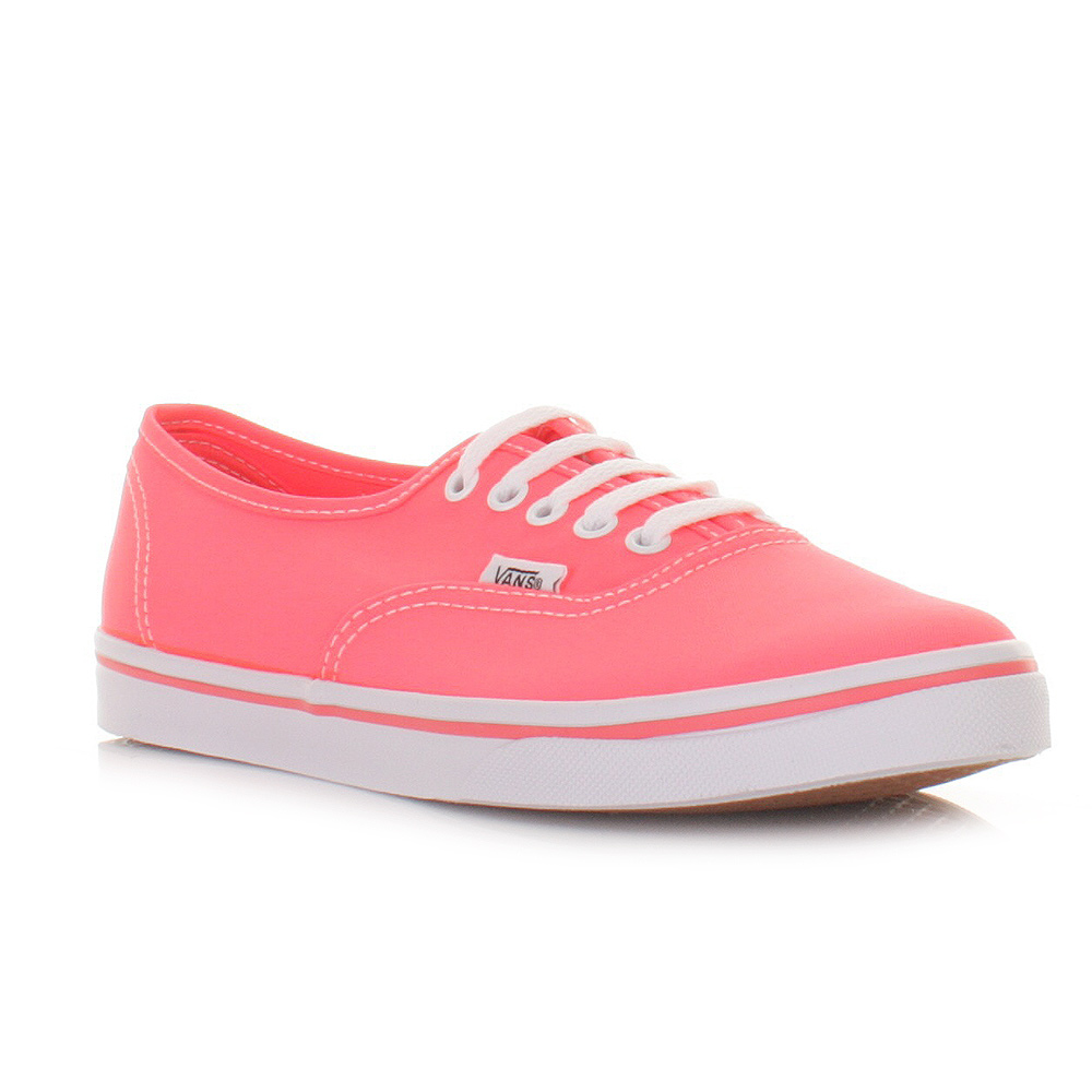 Original WOMENS VANS AUTHENTIC NEON POP FROST GREY PINK SHOES TRAINERS SIZE 38
