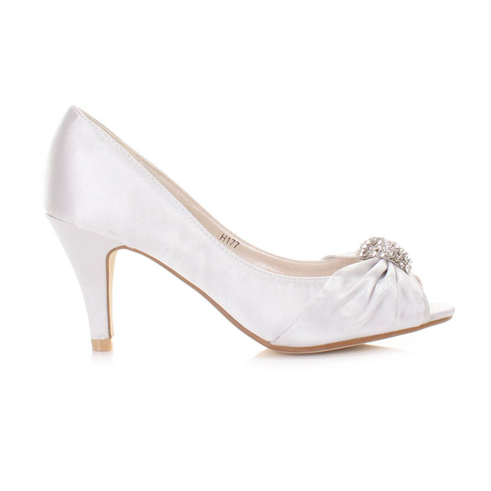Silver Peep Toe Shoes Low Heel