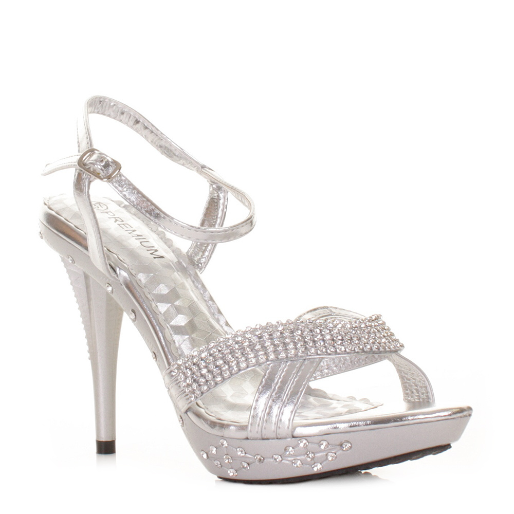 silver high heel diamante party prom wedding embellished