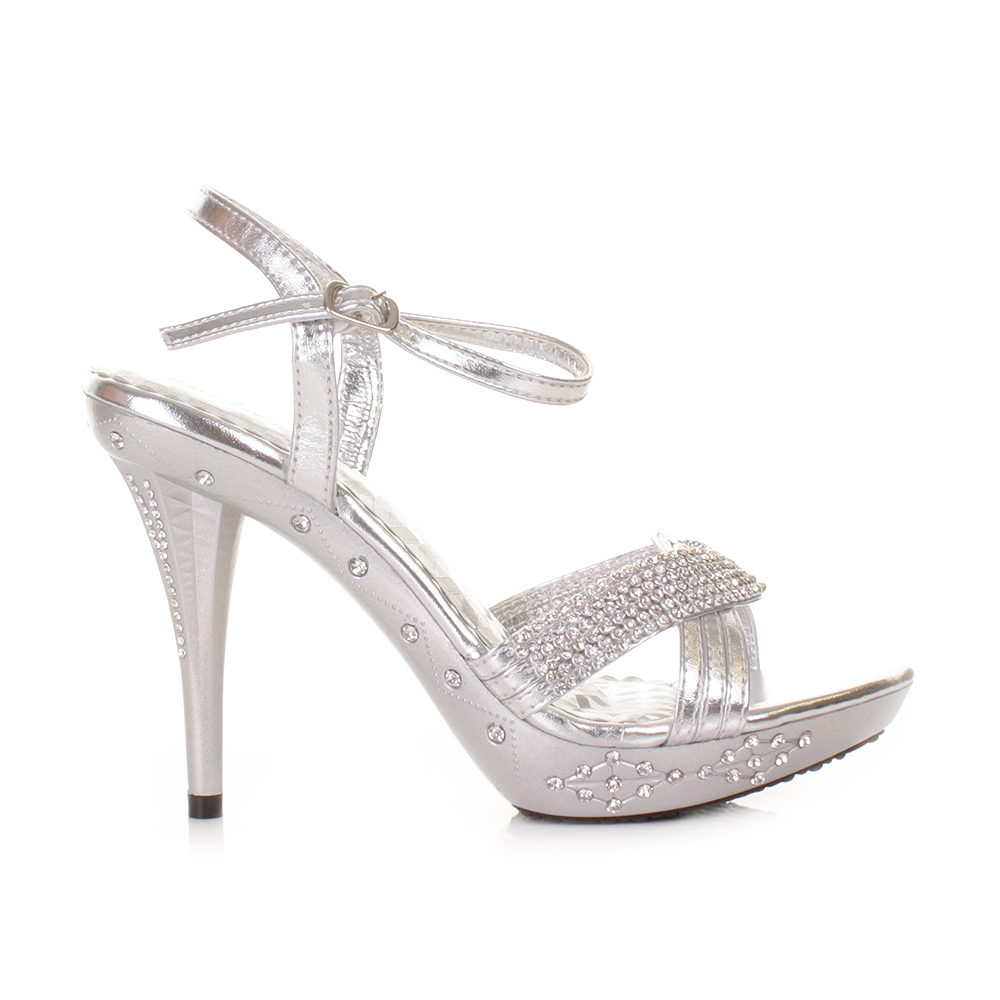 SILVER HIGH HEEL DIAMANTE PARTY PROM WEDDING EMBELLISHED SANDALS SHOES SIZE 3 8