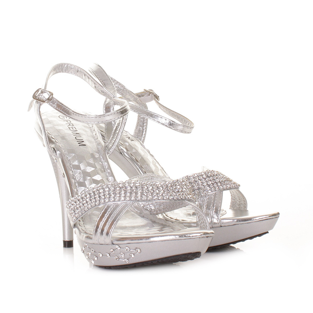 Silver High Heel Diamante Party Prom Wedding Embellished ...
