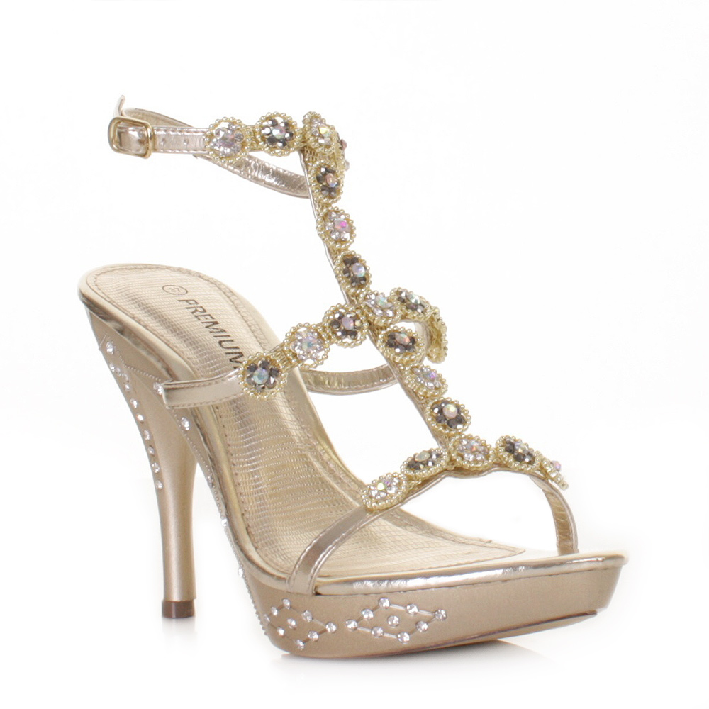 Gold Heels - Wedding Shoes Prom Shoes High Heels Dahlia Gold