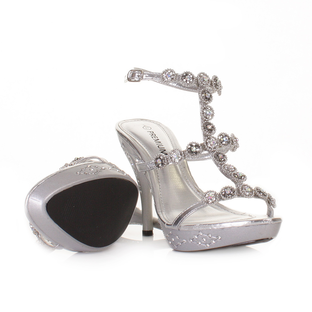 womens silver high heel ankle evening wedding prom