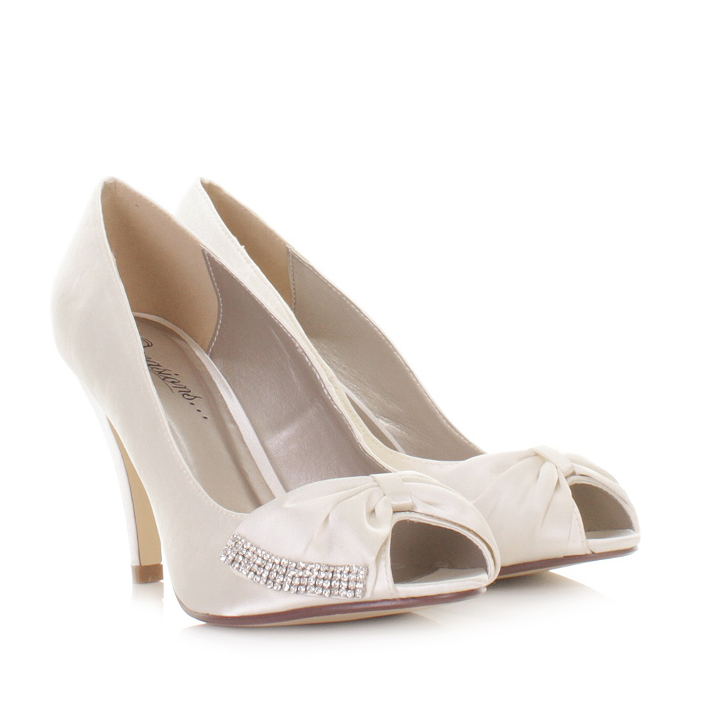 Ivory White Satin Diamante Wedge Wedding Shoes