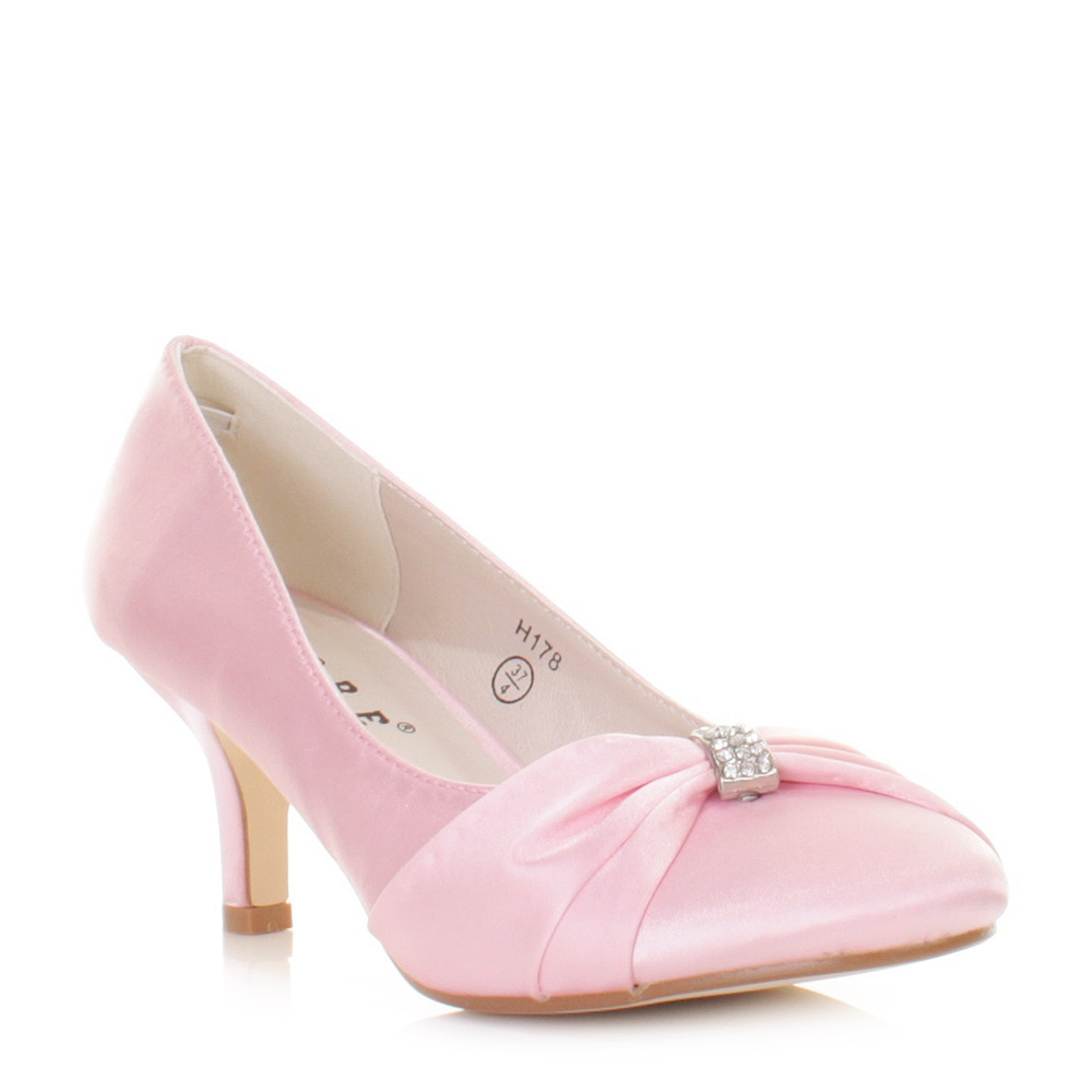 Pink Low Heel Wedding Shoes: Bridal Shoes Women Baby Pink Kitten Heel Satin Wedding