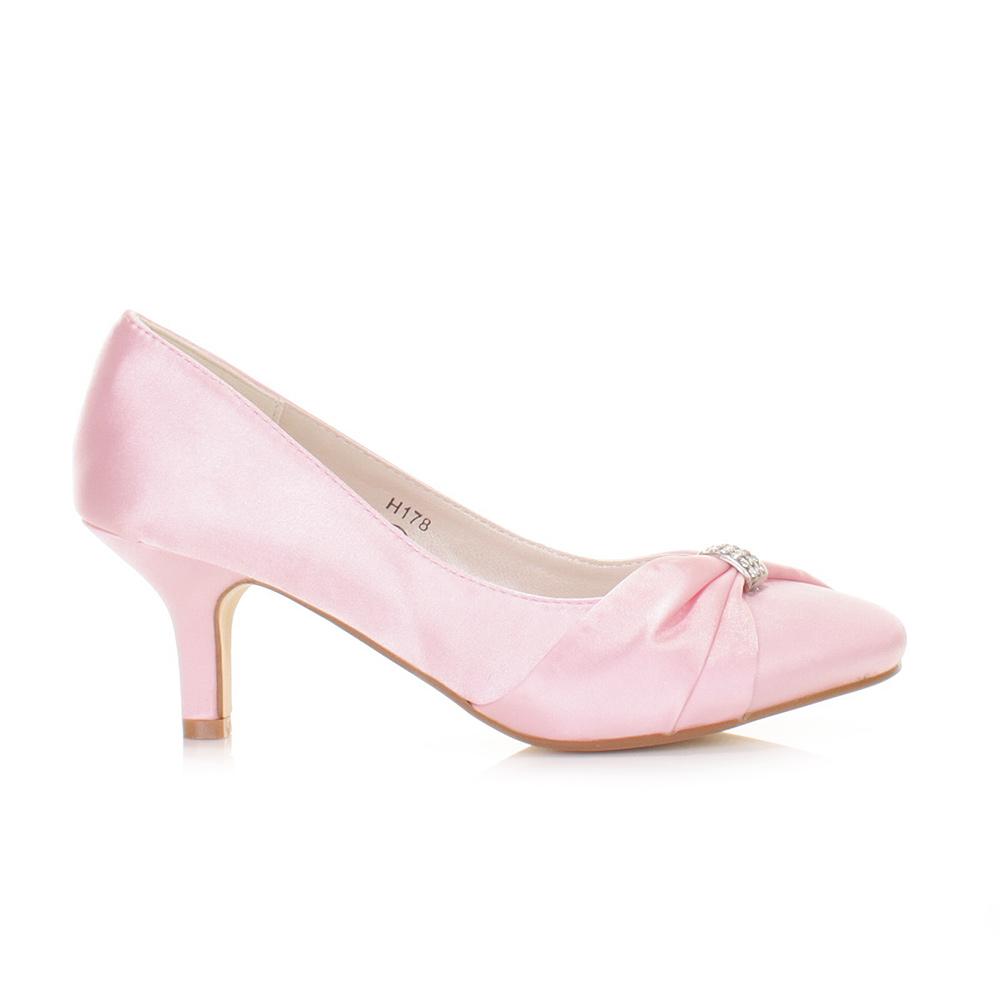 pink wedding low kitten heel bridal satin diamante