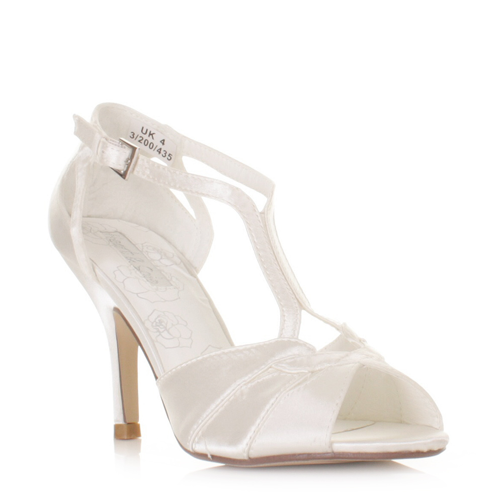 Womens Ladies Ivory Strappy Wedding Satin Bridal Sandals Shoes ...