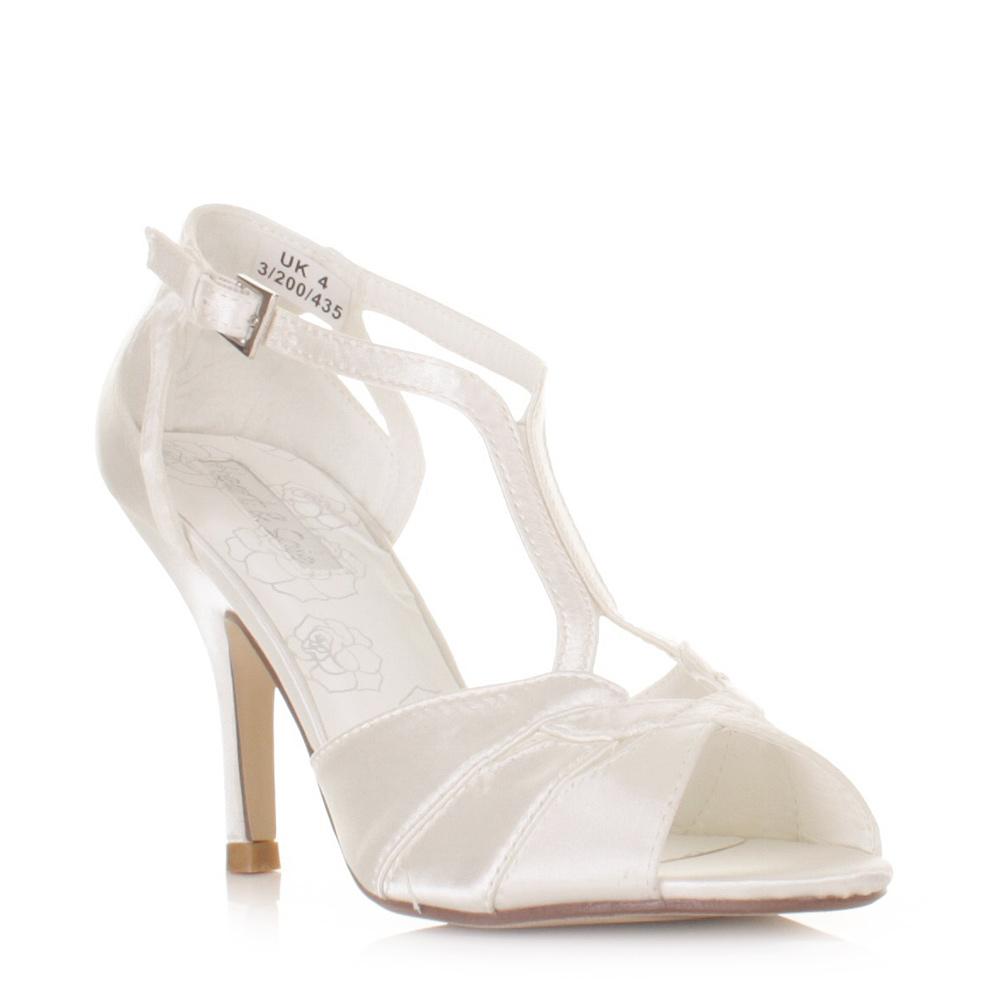 womens ivory strappy wedding satin bridal sandals