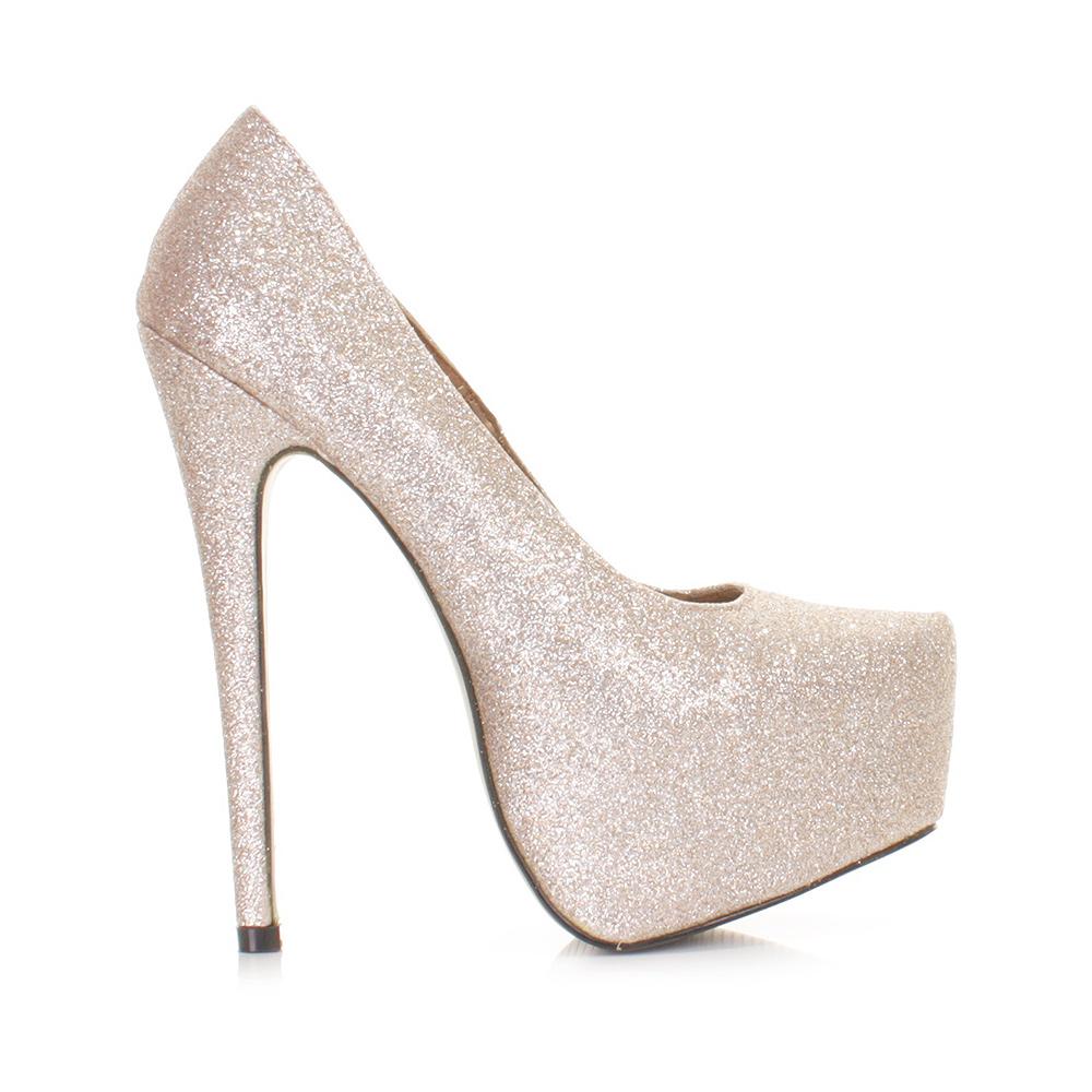 womens high heel platform glitter prom court shoes