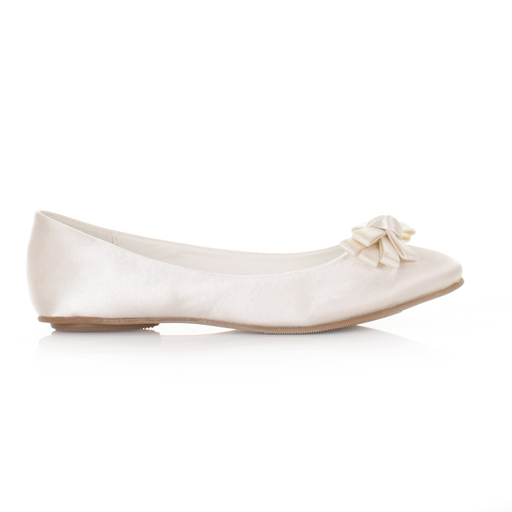 WOMENS LADIES GIRLS SATIN IVORY WEDDING BRIDAL FLAT BOW BALLERINA SHOE SIZE 3 8